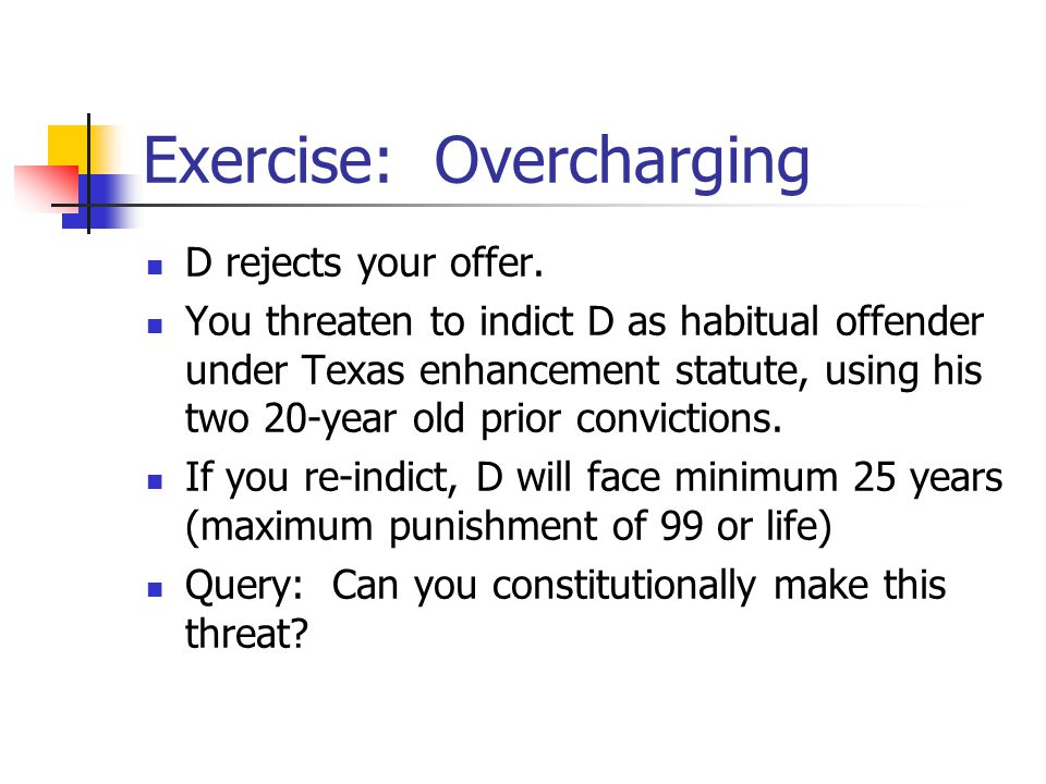 Exercise: Overcharging D rejects your offer.
