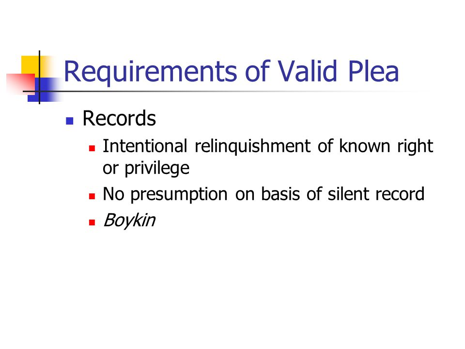 Requirements of Valid Plea Records Intentional relinquishment of known right or privilege No presumption on basis of silent record Boykin