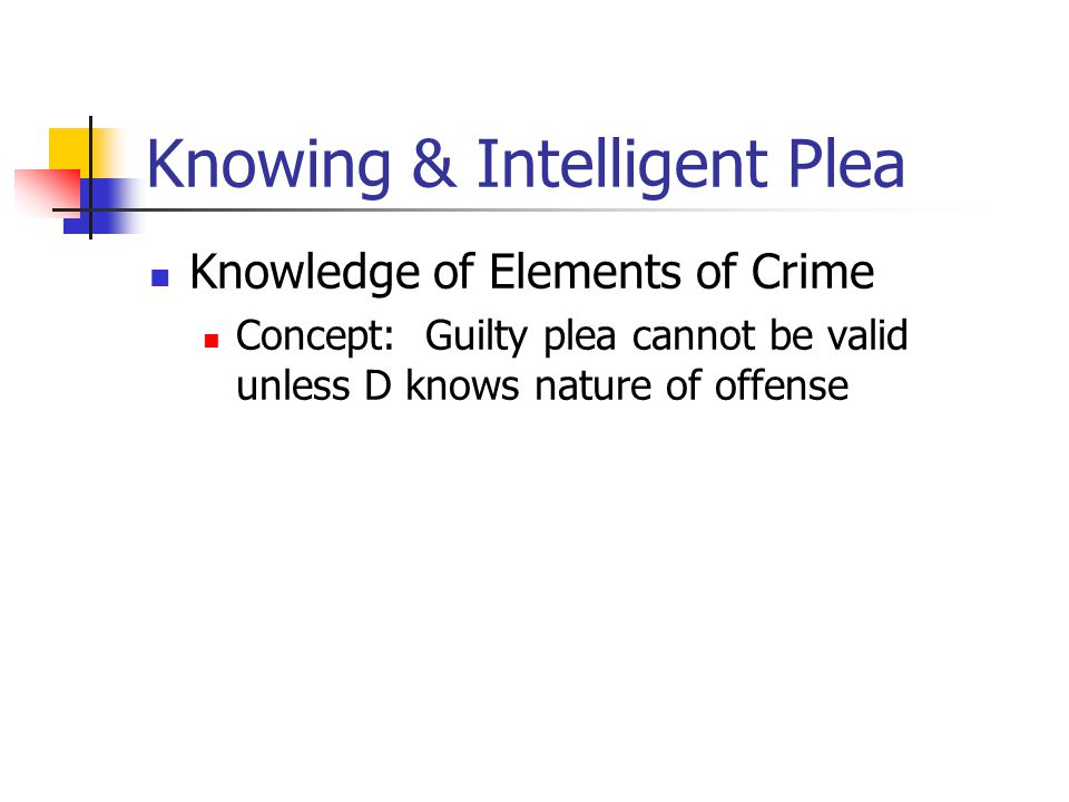Knowing & Intelligent Plea Knowledge of Elements of Crime Concept: Guilty plea cannot be valid unless D knows nature of offense