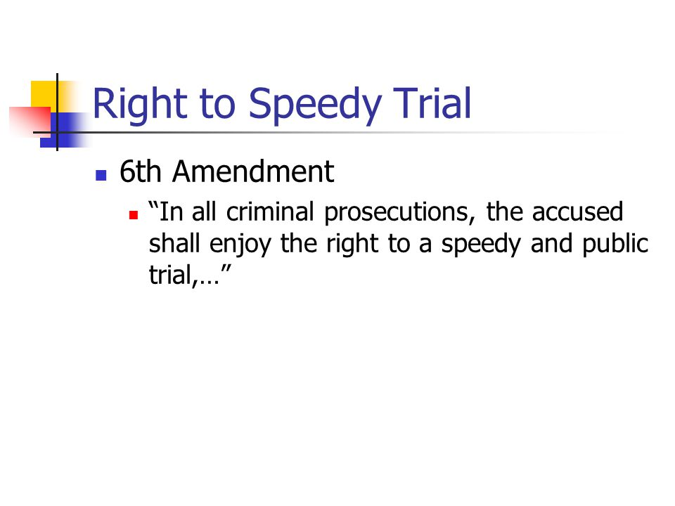 "Right to Speedy Trial 6th Amendment ""In all criminal prosecutions, the accused shall enjoy the right to a speedy and public trial,…"""