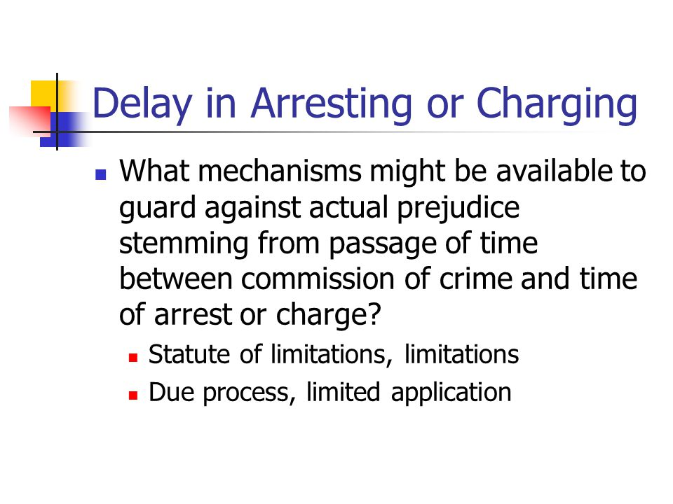 Delay in Arresting or Charging What mechanisms might be available to guard against actual prejudice stemming from passage of time between commission of crime and time of arrest or charge.