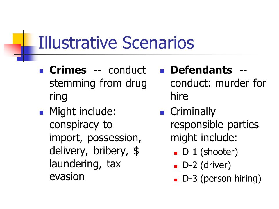 Illustrative Scenarios Crimes -- conduct stemming from drug ring Might include: conspiracy to import, possession, delivery, bribery, $ laundering, tax evasion Defendants -- conduct: murder for hire Criminally responsible parties might include: D-1 (shooter) D-2 (driver) D-3 (person hiring)