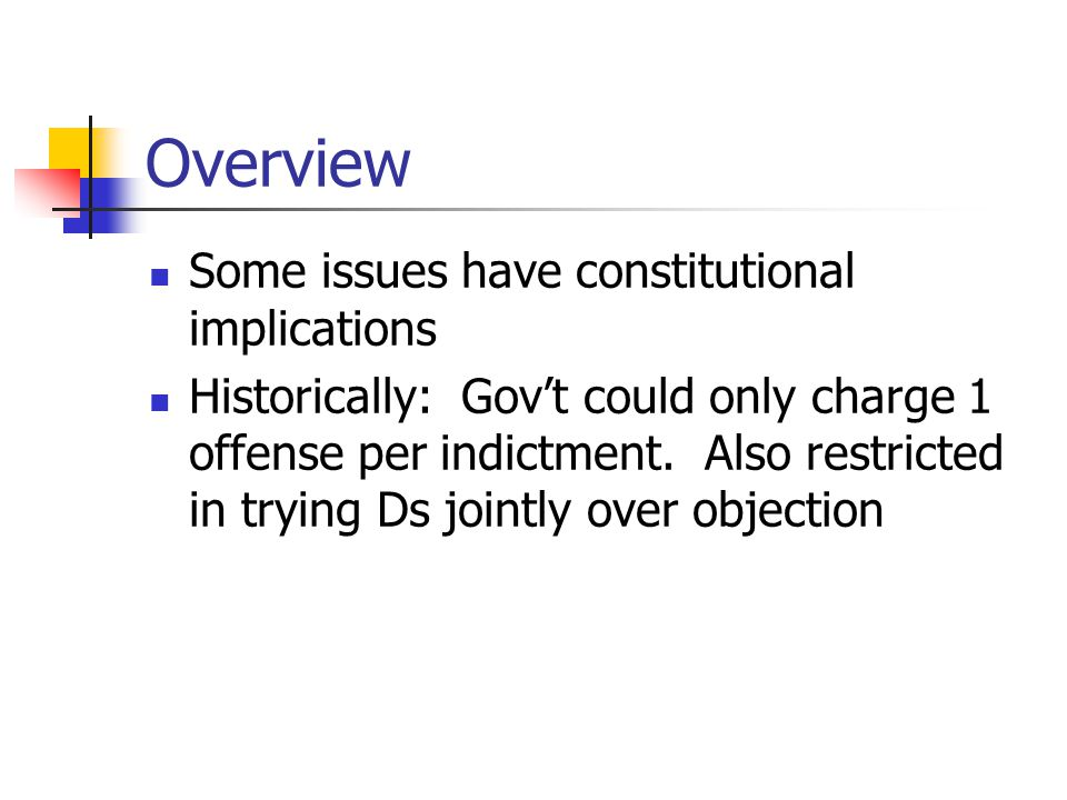 Overview Some issues have constitutional implications Historically: Gov't could only charge 1 offense per indictment. Also restricted in trying Ds joi