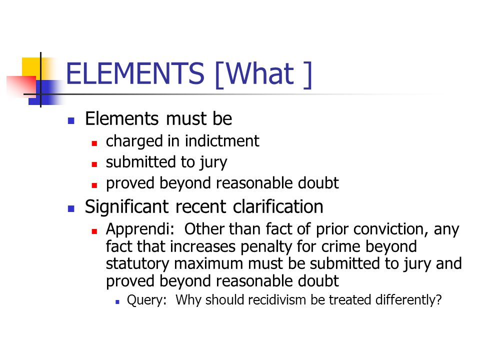 ELEMENTS [What ] Elements must be charged in indictment submitted to jury proved beyond reasonable doubt Significant recent clarification Apprendi: Ot