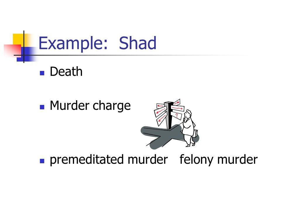 Example: Shad Death Murder charge premeditated murder felony murder