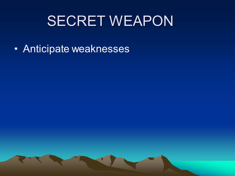SECRET WEAPON Anticipate weaknesses