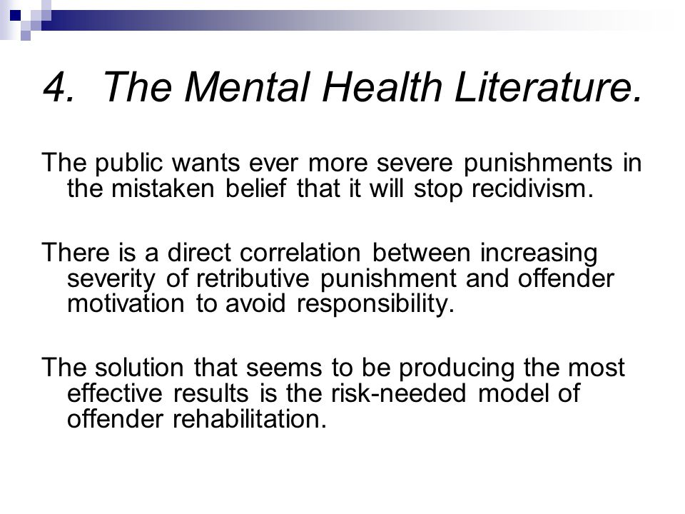4. The Mental Health Literature.
