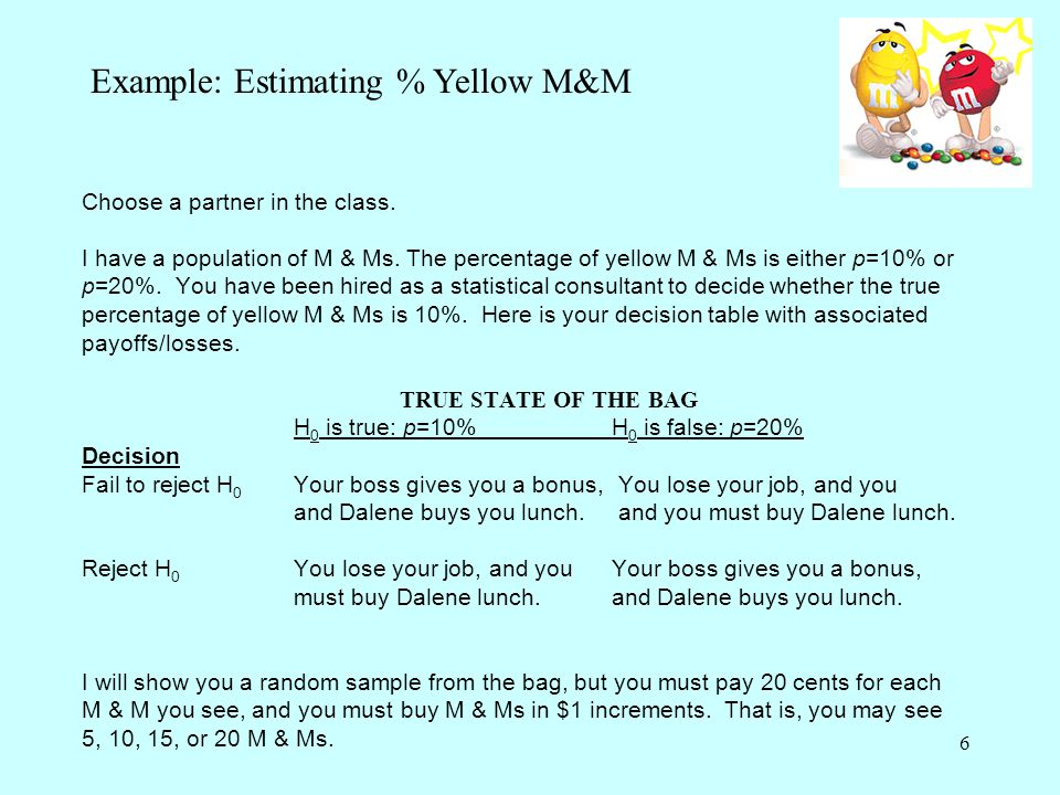 6 Choose a partner in the class. I have a population of M & Ms. The percentage of yellow M & Ms is either p=10% or p=20%. You have been hired as a sta
