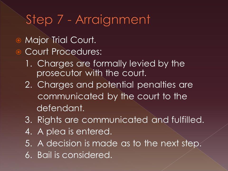  Major Trial Court.  Court Procedures: 1.