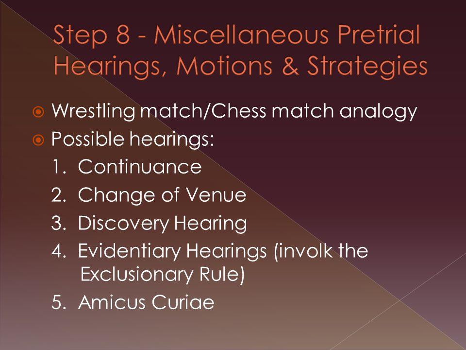  Wrestling match/Chess match analogy  Possible hearings: 1.
