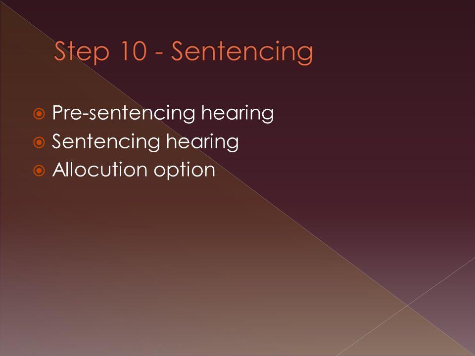 Pre-sentencing hearing  Sentencing hearing  Allocution option