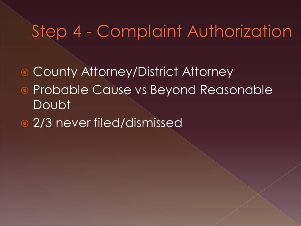 Complaint not filed 50 50 left Dismissed later 15 35 left Reduced to Misd. 20 15 left
