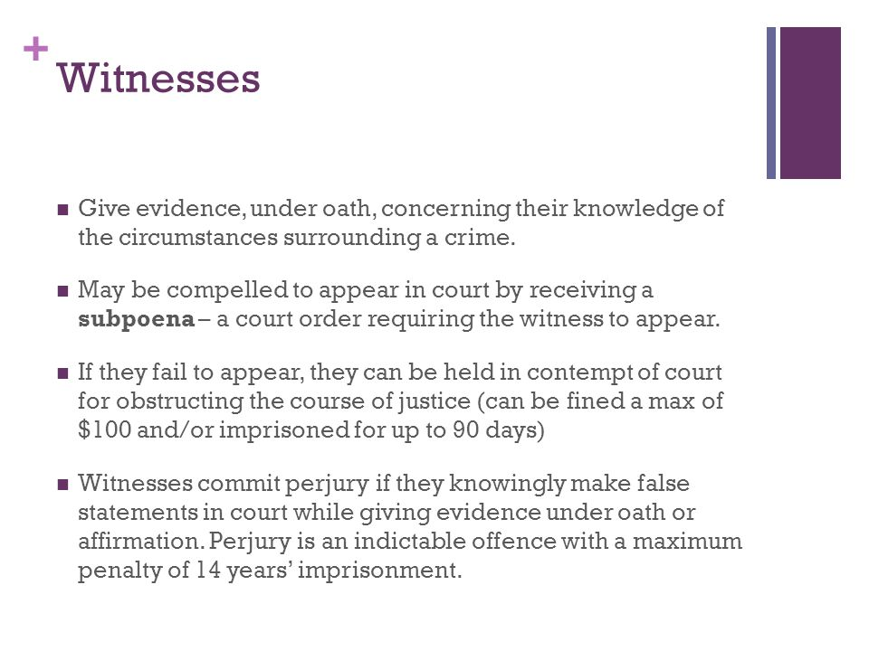 + Witnesses Give evidence, under oath, concerning their knowledge of the circumstances surrounding a crime.