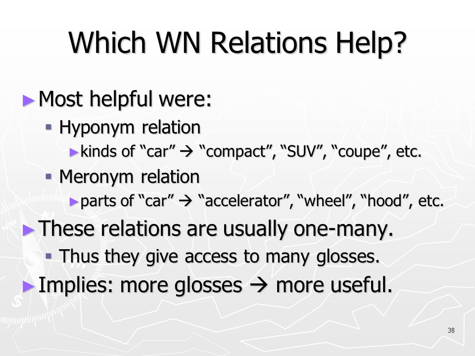 38 Which WN Relations Help.