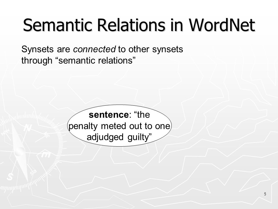 5 sentence: the penalty meted out to one adjudged guilty Synsets are connected to other synsets through semantic relations Semantic Relations in WordNet