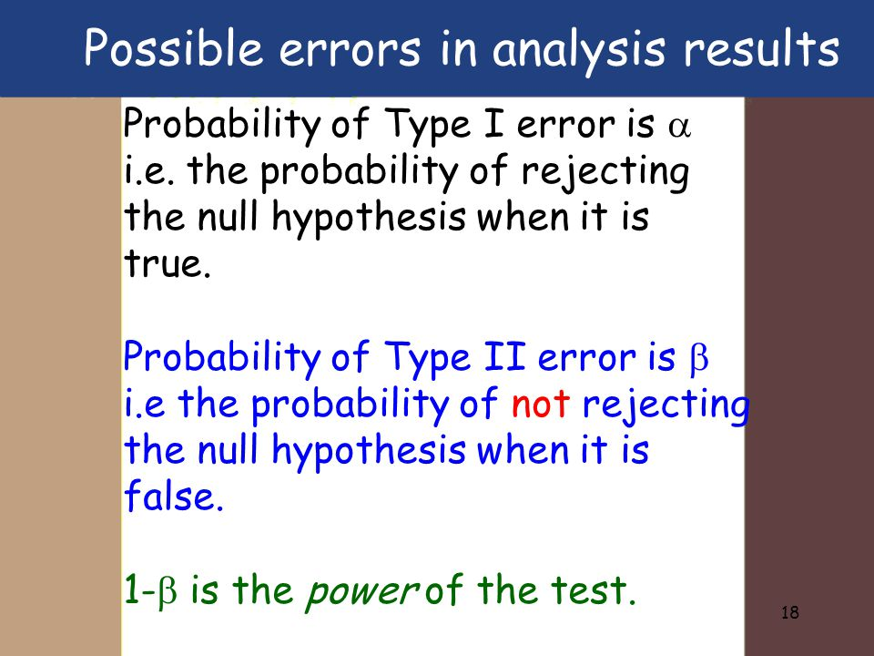 18 Probability of Type I error is  i.e. the probability of rejecting the null hypothesis when it is true. Probability of Type II error is  i.e the p