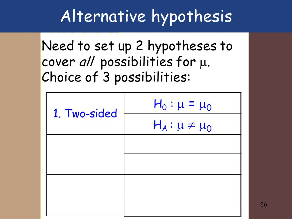 26 Need to set up 2 hypotheses to cover all possibilities for .