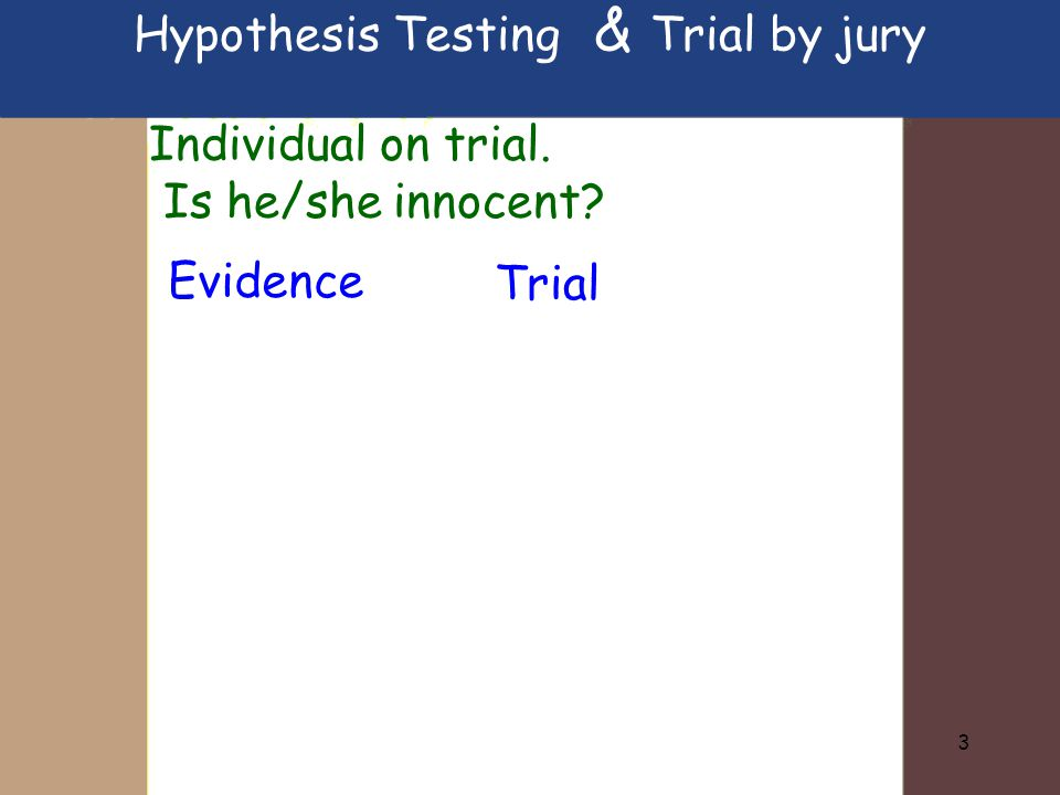 4 Individual on trial.Is he/she innocent.