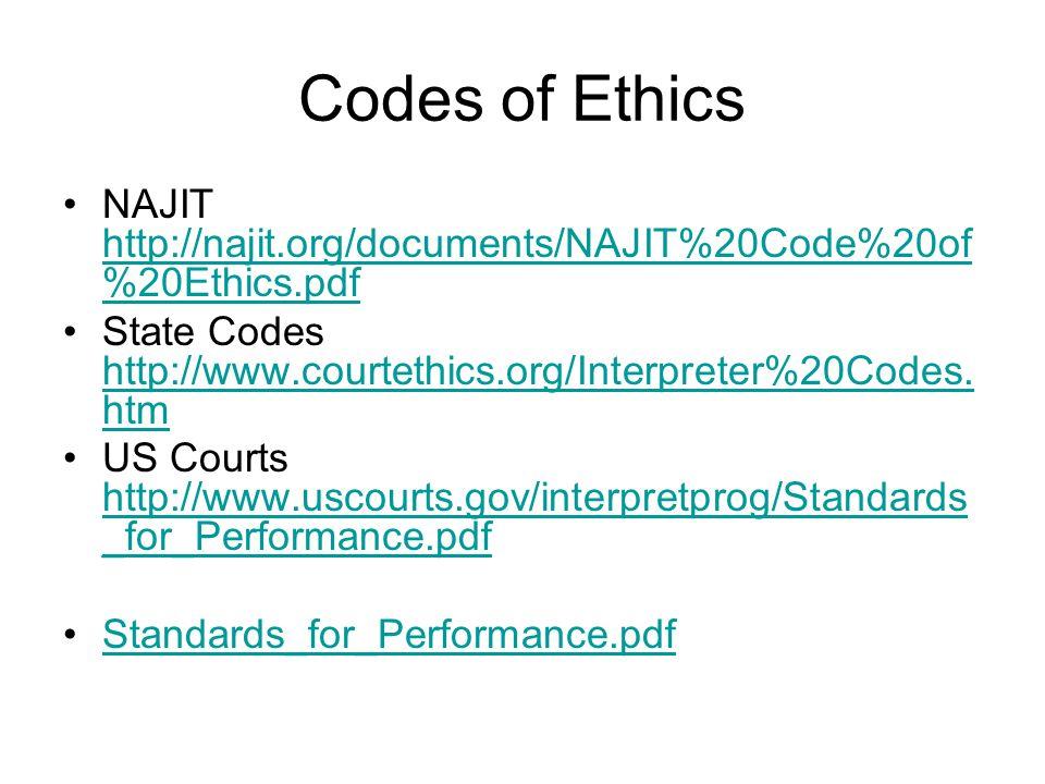 Codes of Ethics NAJIT http://najit.org/documents/NAJIT%20Code%20of %20Ethics.pdf http://najit.org/documents/NAJIT%20Code%20of %20Ethics.pdf State Codes http://www.courtethics.org/Interpreter%20Codes.