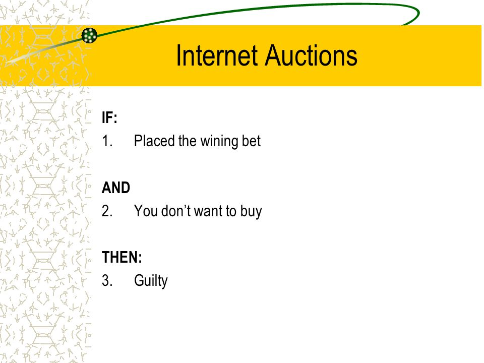 Internet Auctions IF: 1.Placed the wining bet AND 2.You don't want to buy THEN: 3.Guilty