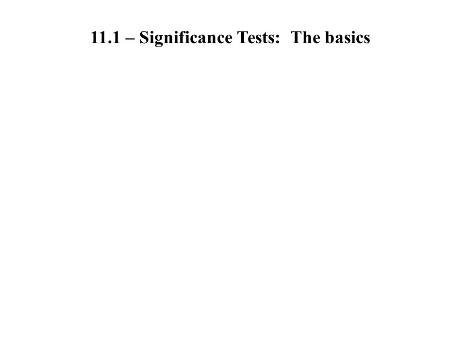 11.2 - Carrying Out Significance Tests