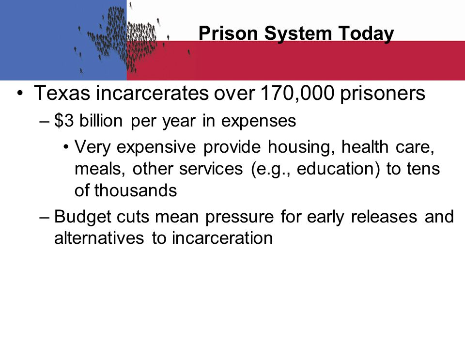 Prison System Today Texas incarcerates over 170,000 prisoners – $3 billion per year in expenses Very expensive provide housing, health care, meals, ot