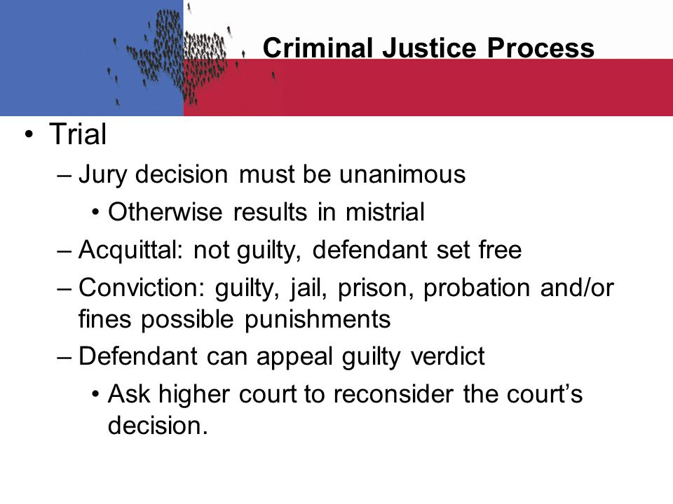 Criminal Justice Process Trial – Jury decision must be unanimous Otherwise results in mistrial – Acquittal: not guilty, defendant set free – Conviction: guilty, jail, prison, probation and/or fines possible punishments – Defendant can appeal guilty verdict Ask higher court to reconsider the court's decision.