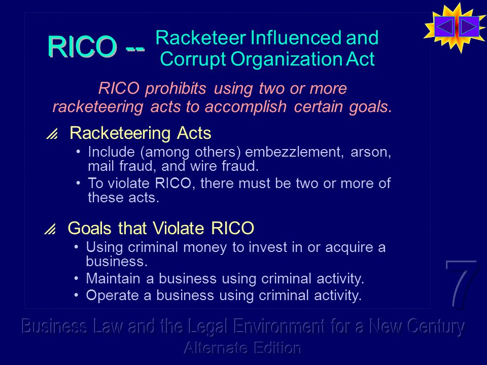 Racketeer Influenced and Corrupt Organization Act  Racketeering Acts Include (among others) embezzlement, arson, mail fraud, and wire fraud. To viola