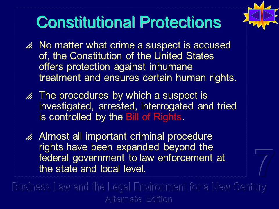 Constitutional Protections  No matter what crime a suspect is accused of, the Constitution of the United States offers protection against inhumane tr