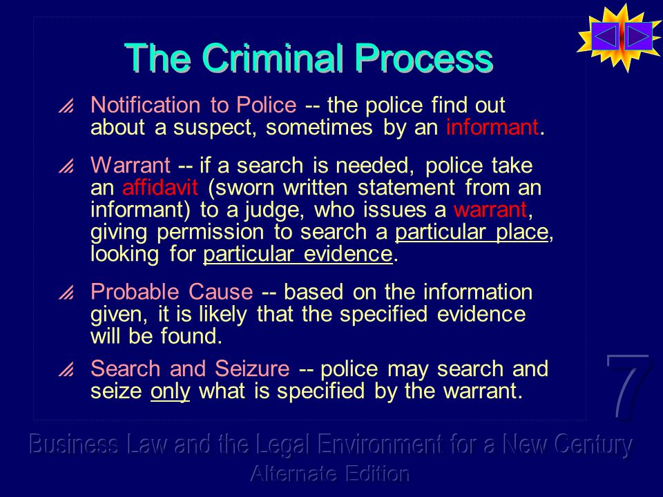 The Criminal Process  Notification to Police -- the police find out about a suspect, sometimes by an informant.  Warrant -- if a search is needed, p