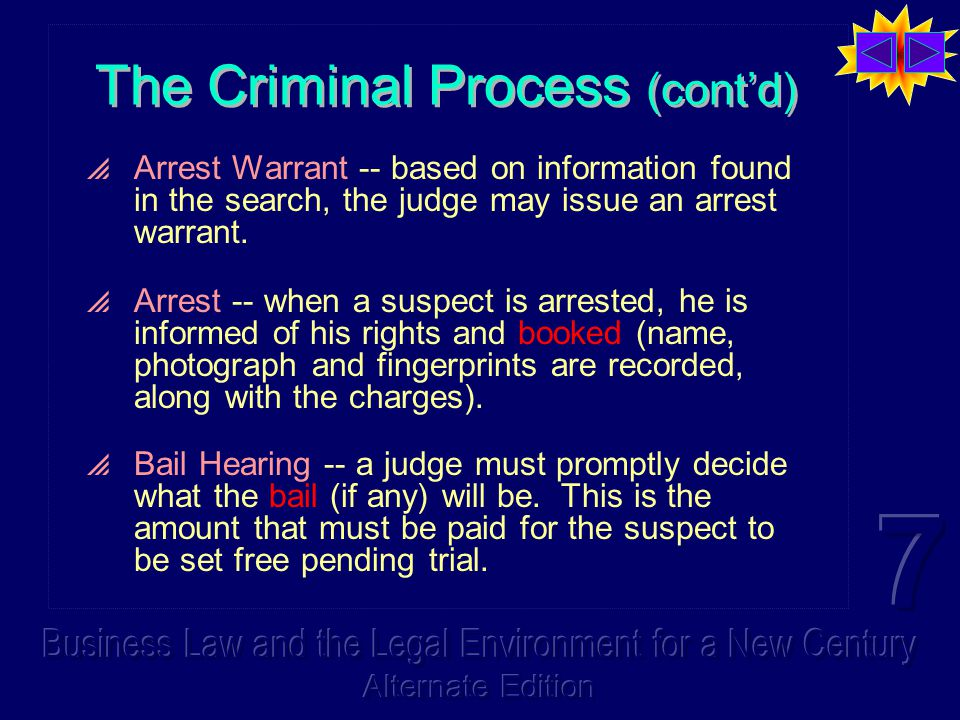 The Criminal Process (cont'd)  Arrest Warrant -- based on information found in the search, the judge may issue an arrest warrant.  Arrest -- when a