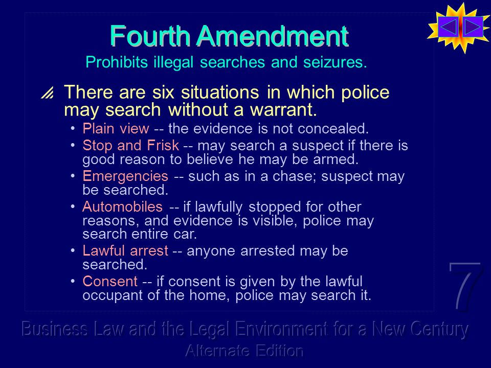 Fourth Amendment Prohibits illegal searches and seizures.  There are six situations in which police may search without a warrant. Plain view -- the e