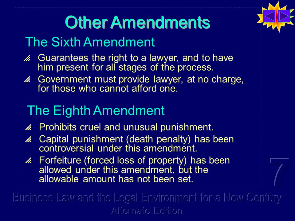 Other Amendments  Guarantees the right to a lawyer, and to have him present for all stages of the process.  Government must provide lawyer, at no ch