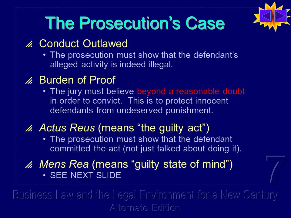 The Prosecution's Case  Conduct Outlawed The prosecution must show that the defendant's alleged activity is indeed illegal.  Burden of Proof The jur