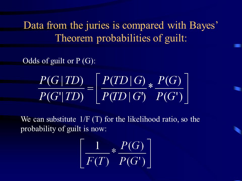 Data from the juries is compared with Bayes' Theorem probabilities of guilt: Odds of guilt or P (G): We can substitute 1/F (T) for the likelihood ratio, so the probability of guilt is now: