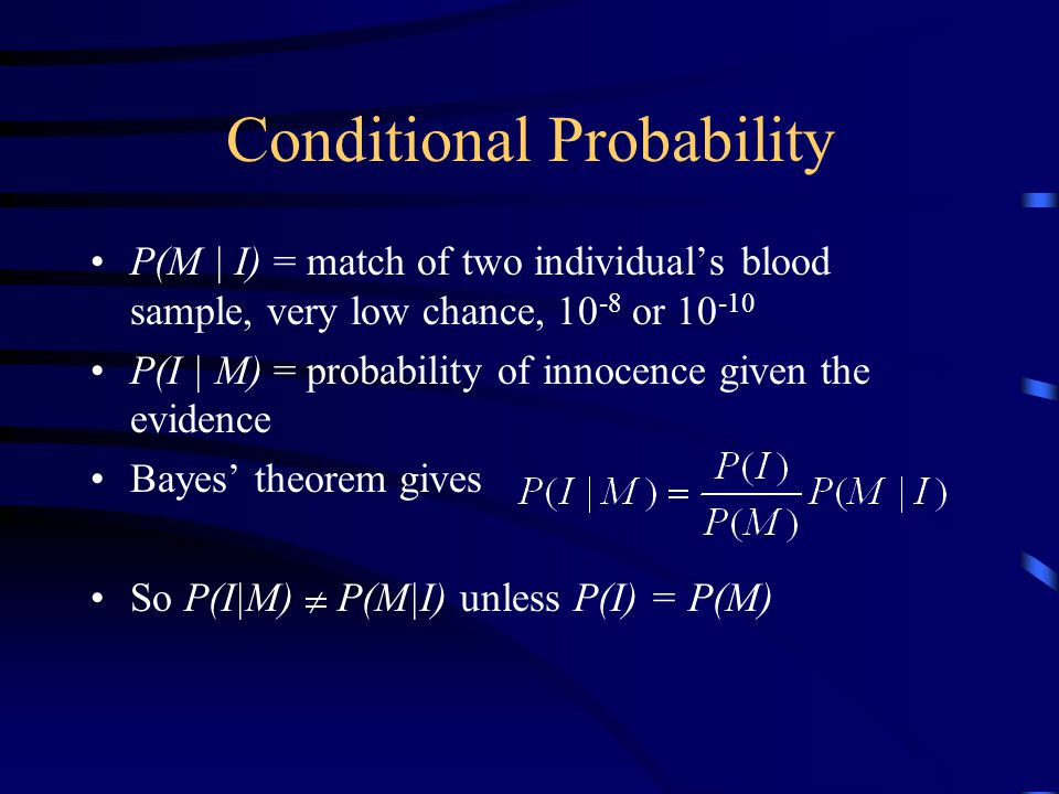 Conditional Probability P(M | I) = match of two individual's blood sample, very low chance, 10 -8 or 10 -10 P(I | M) = probability of innocence given the evidence Bayes' theorem gives So P(I|M) P(M|I) unless P(I) = P(M)