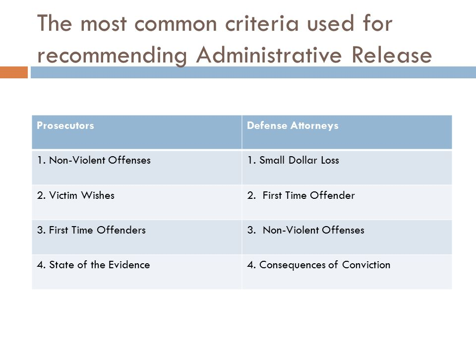 The most common criteria used for recommending Administrative Release ProsecutorsDefense Attorneys 1.