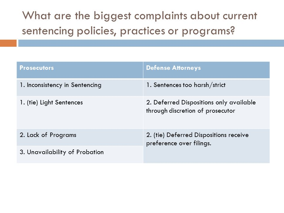 What are the biggest complaints about current sentencing policies, practices or programs? ProsecutorsDefense Attorneys 1. Inconsistency in Sentencing1