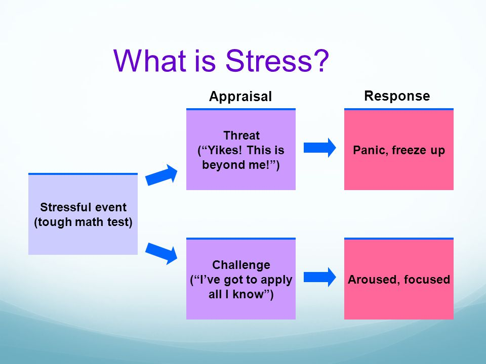 "What is Stress? Stressful event (tough math test) Threat (""Yikes! This is beyond me!"") Challenge (""I've got to apply all I know"") Panic, freeze up Aro"