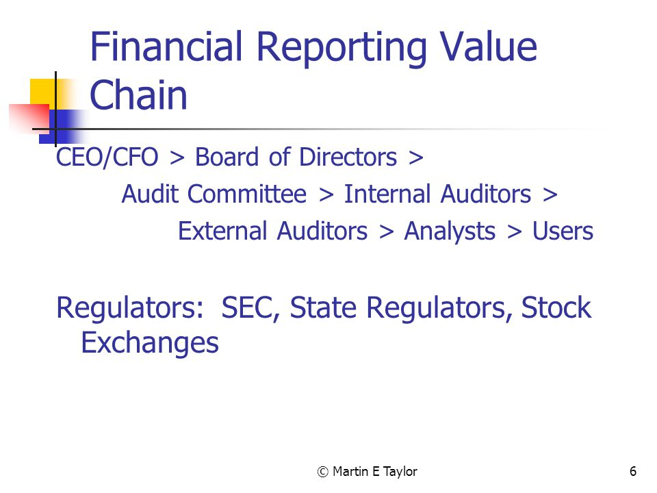 © Martin E Taylor6 Financial Reporting Value Chain CEO/CFO > Board of Directors > Audit Committee > Internal Auditors > External Auditors > Analysts > Users Regulators: SEC, State Regulators, Stock Exchanges