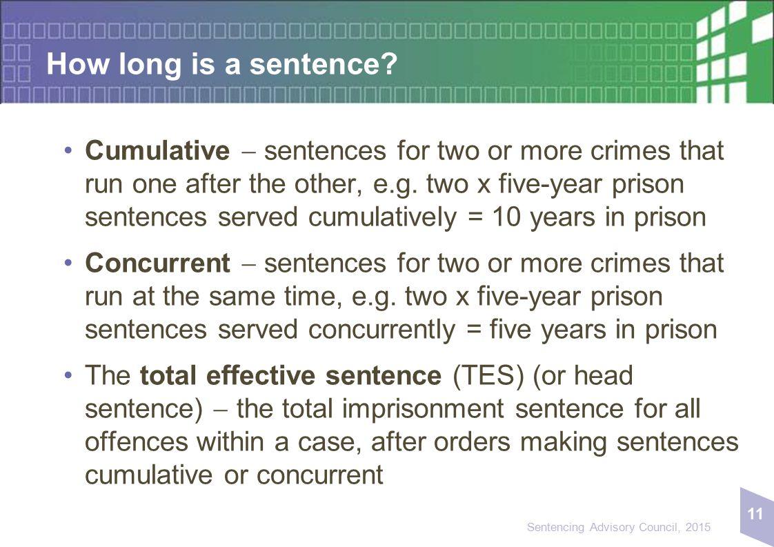 11 Sentencing Advisory Council, 2015 How long is a sentence.