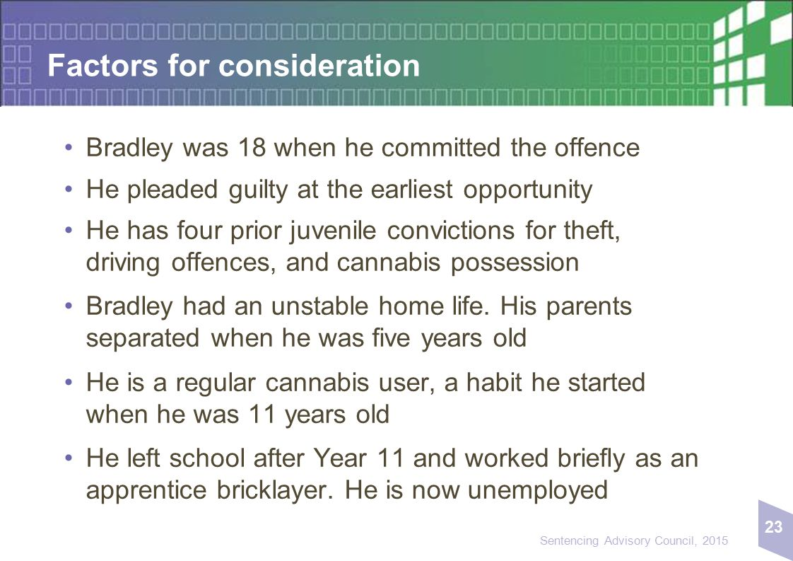 23 Sentencing Advisory Council, 2015 Factors for consideration Bradley was 18 when he committed the offence He pleaded guilty at the earliest opportun