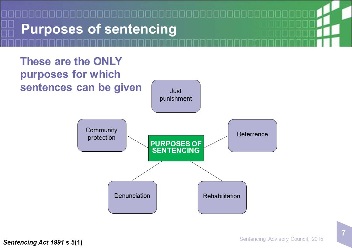 7 Sentencing Advisory Council, 2015 Purposes of sentencing These are the ONLY purposes for which sentences can be given Sentencing Act 1991 s 5(1) PUR