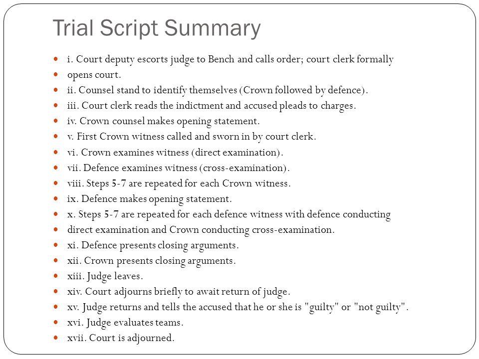 Trial Script Summary i.