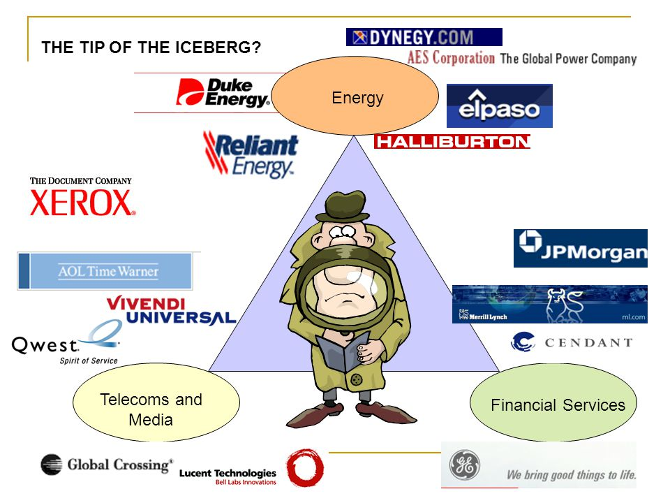 THE TIP OF THE ICEBERG Energy Telecoms and Media Financial Services