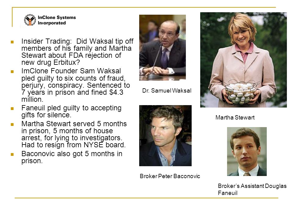 Insider Trading: Did Waksal tip off members of his family and Martha Stewart about FDA rejection of new drug Erbitux.