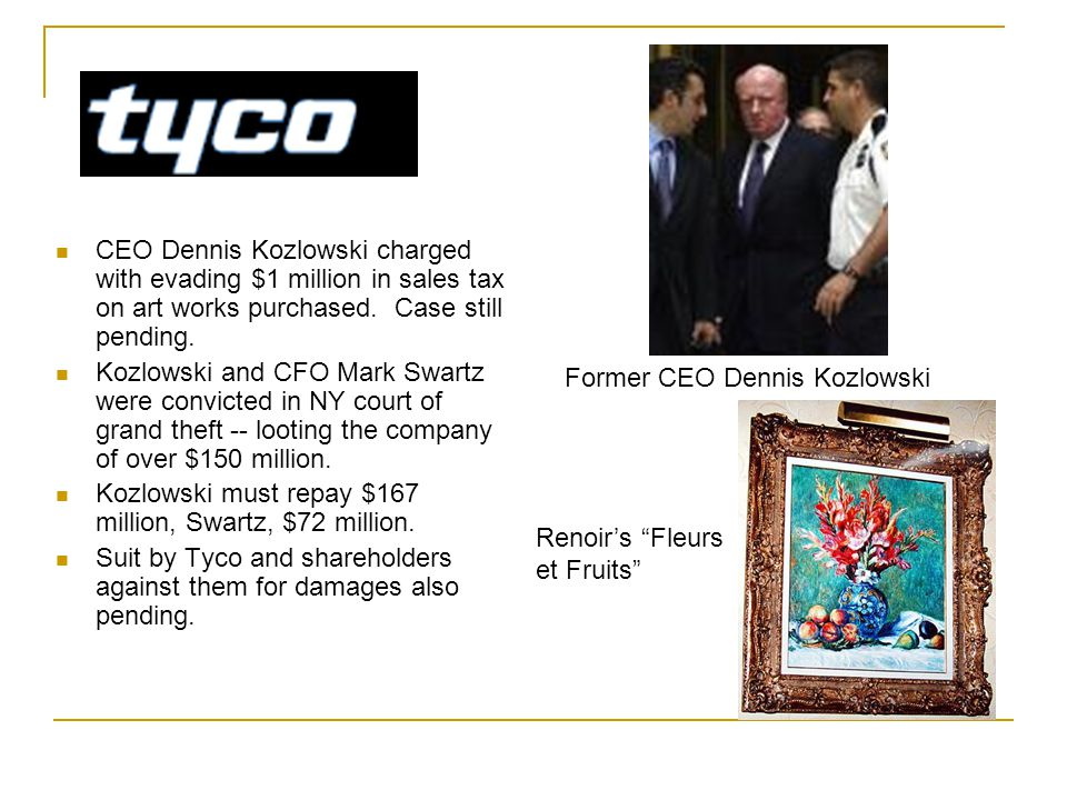 CEO Dennis Kozlowski charged with evading $1 million in sales tax on art works purchased.
