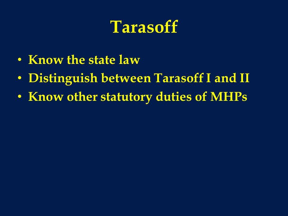 Tarasoff Know the state law Distinguish between Tarasoff I and II Know other statutory duties of MHPs