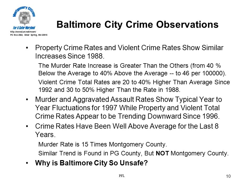 http://www2.ari.net/mcsm/ PO Box 2563, Silver Spring, Md 20915 PFL 10 Baltimore City Crime Observations Property Crime Rates and Violent Crime Rates S
