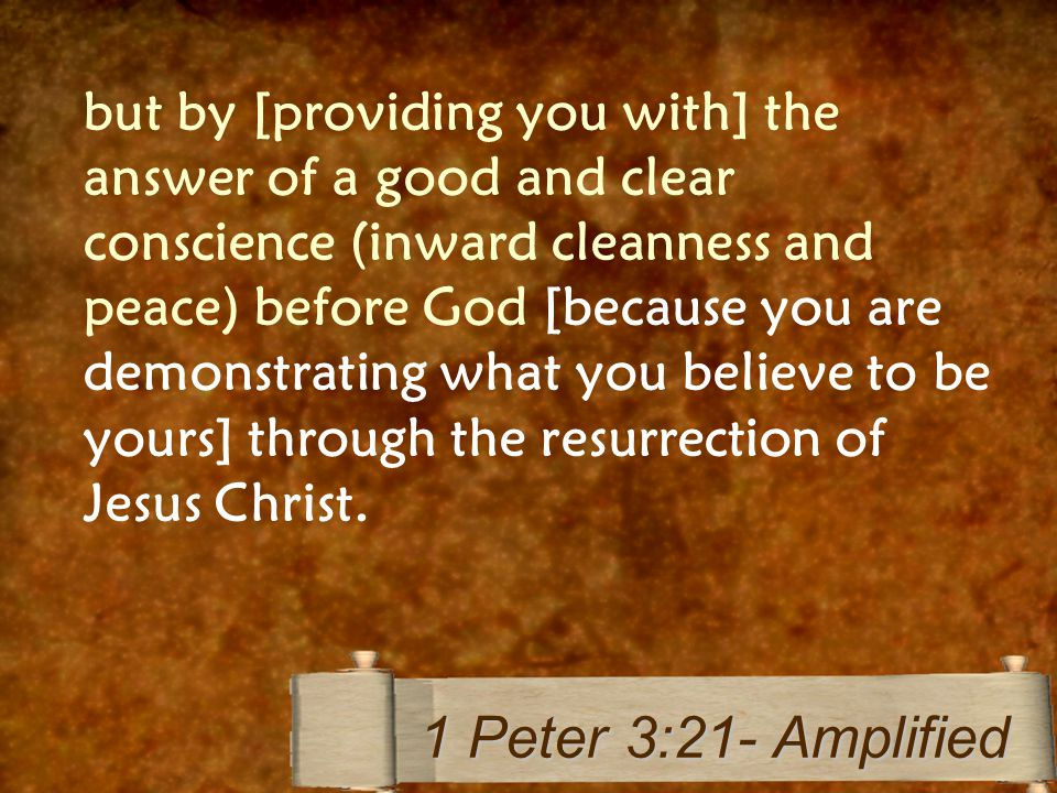 but by [providing you with] the answer of a good and clear conscience (inward cleanness and peace) before God [because you are demonstrating what you